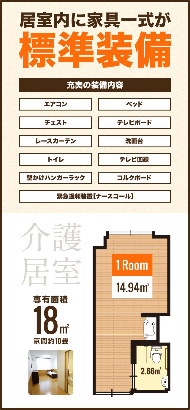 居室内に家具一式が標準装備